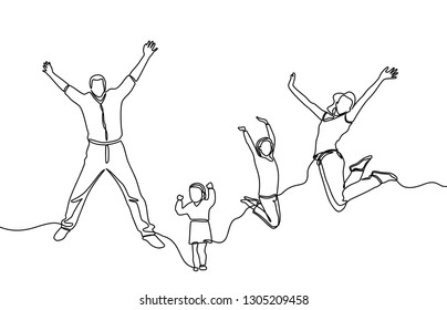continuous line drawings of happy young families jumping for fun