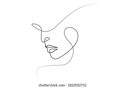 Continuous line, face drawing and hair style, fashion concept, simple woman beauty, sexy beautiful vector illustration. Printed style graphics