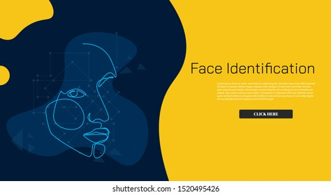 Continuous Line Face identification  Facial Recognition System concept internet advertising. Influencer marketing, social media or network promotion, SMM banner, landing page, flyer.