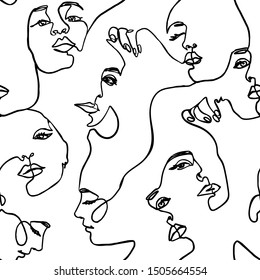 Continuous line face women seamless pattern - Vector Endless Background Fashion Female Portrait one line Style