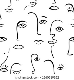 Continuous line face women seamless pattern - Modern abstract faces - Vector Endless pastel Background Fashion  Portrait one line minimalist Style