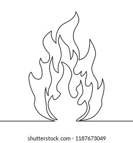 Continuous line fire one line drawing isolated vector fire illustration