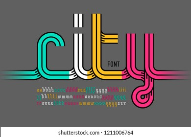Continuous line font, colorful alphabet vector illustration
