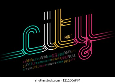 Continuous line font, colorful outline alphabet vector illustration