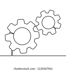 Continuous line Gears on white background. Single line drawing. Continuous line Vector illustration