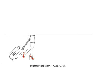 continuous line. a girl with a suitcase in a miniskirt in shoes with heels goes around the airport, bus station. Red shoes. View to the waist. Drawing by hand. copy space. business card, logo, icon