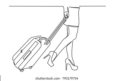continuous line. a girl with a suitcase in a miniskirt in shoes with heels goes around the airport, bus station. View to the waist. Drawing by hand. copy space. business card, logo, icon