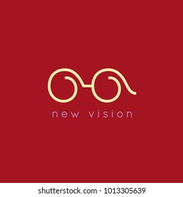Continuous Line Glasses Logo. Vector Optical Symbol. Outline Minimalist Eyeglasses Icon.