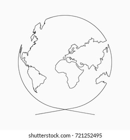 Continuous line globe. Planet of Earth one line drawing. Hand-drawn illustration for logo, emblem and design poster. Vector.