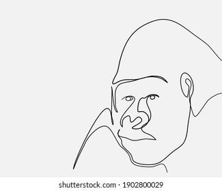 Continuous line, Gorilla thinking. Drawing of set Animals. (Vector illustration one line drawing)