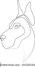 Continuous line Great Dane. Single line minimal style dog vector illustration. Portrait