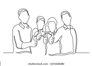 Continuous line. group of people of different nationalities finger up. Arrangement. The concept of team. simple drawing by hand on a white background.