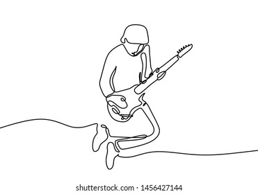 Continuous line guitar player jump minimalism design