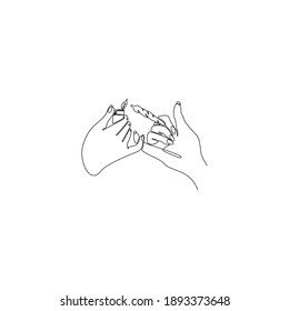 Continuous line of hand holding cigarette while lighting a match vector illustration