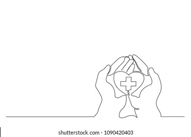 Continuous line. heart in hands. cross and heart. symbol of medicine. Copy space. concept of care, health.