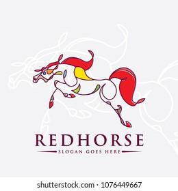 Continuous Line Horse Logo Vector