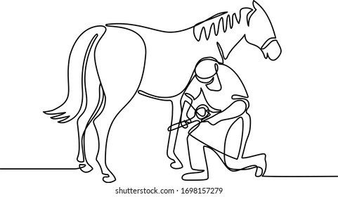 Continuous line illustration of a farrier working on a horse, trimming hoof done in black and white monoline style.