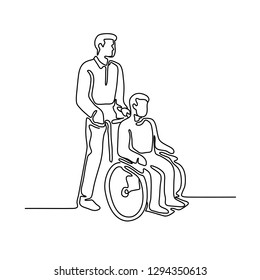 Continuous line illustration of a hospital patient or disable person with handicap sitting or being push on wheelcahir by a male nurse done in monoline style.