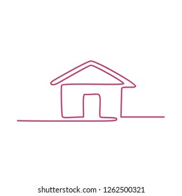 Continuous line illustration of  a house done in monoline style on isolated background.