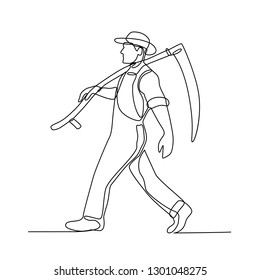 Continuous line illustration of an organic farmer walking carrying a scythe viewed from side done in black and white monoline style.