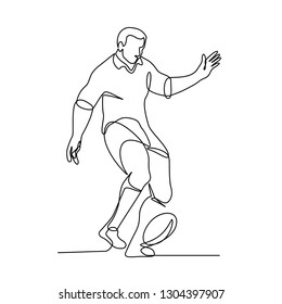 Continuous line illustration of a rugby player kicking the ball for a field goal or kick-off  done in black and white monoline style.