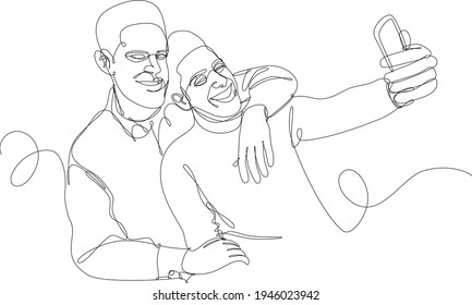 Continuous line illustration of young african american gay couple taking a selfie smiling. Concept of homosexual relationships, freedom of human rights, friendship. Black line on white background.
