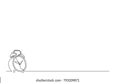 continuous line. An image of an alarm clock is a black line on a white background. Abstract. Drawing by hand. copy space. business card, logo, icon