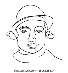 Continuous line Jewish man in bowler hat portrait, facial expression isolated icon vector. One line art, male face with curly hair hand drawn silhouette. Avatar, outline art, Jew person features