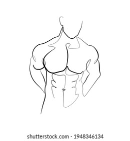 Continuous line male figure naked strong muscular healthy vector illustration hand drawn design print graphics style