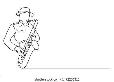 Continuous line Man blowing the trumpet instrument jazz Simple style hand drawn music style vector illustration