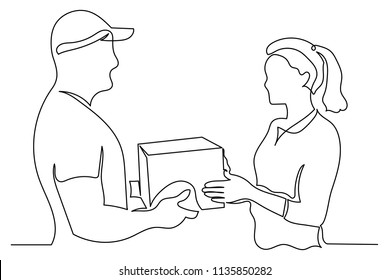 Continuous line man the courier passes the client to the woman a box. The concept of delivery service. Delivery of goods, products from the online store or transport company.