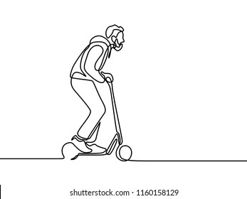 Continuous line man rides an electric scooter.  Vector illustration.