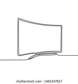 continuous line monitor for computer isolated on white background vector illustration technology object