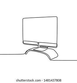 continuous line monitor for computer multimedia visual look minimalist object vector illustration