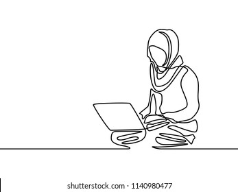 Continuous line muslim woman learning or with help notebook. Vector illustration.