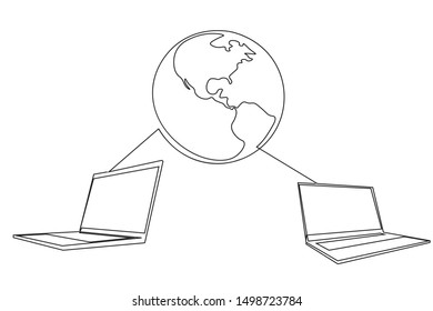 Continuous line Network internet modern technology vector illustration