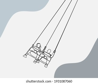 Continuous line, People enjoy a swing Carousel. Drawing of set Carnival. (Vector illustration one line drawing)