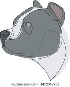 Continuous line Pit Bull. Single line minimal style Pitbull dog vector illustration. Portrait
