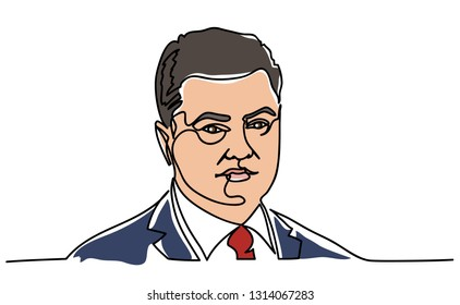 Continuous line, a portrait of Petro Poroshenko. The President of Ukraine Petro Poroshenko. Illustration isolated on a white background. Portrait Drawing Vector Illustration. 2019