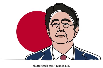 Continuous line, a portrait of Shinzo Abe. Japanese Prime Minister Shinzo Abe on the background of the flag of Japan. Vector illustration design. 2019