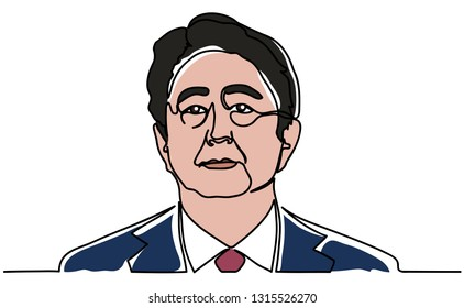 Continuous line, a portrait of Shinzo Abe. Japanese Prime Minister Shinzo Abe. Illustration isolated on a white background. Vector illustration design. 2019