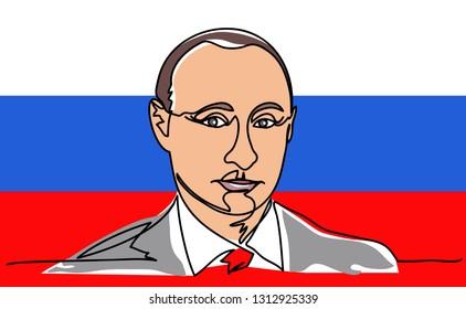 Continuous line, a portrait of Vladimir Putin. The President of Russia Vladimir Putin on the background of the flag of Russia. Portrait Drawing Illustration. 2019