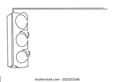 continuous line road object. Safety of pedestrians. Drawing a black thin line on a white background.
