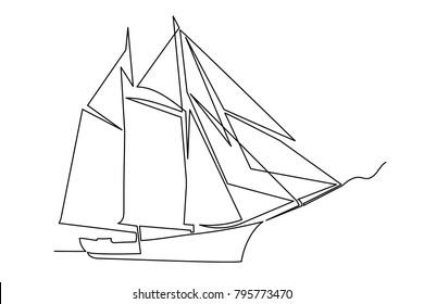 continuous line ship drawing by hand on a white background black fine lines.