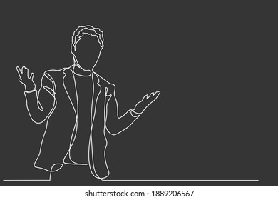 Continuous line Simple line businessman hand drawn style vector illustration