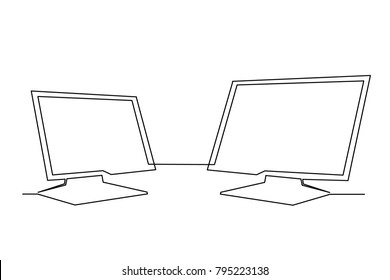 continuous line Two monitors in the office. One is bigger than the other. Hand drawing on white background. Internet and TV channel