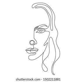 Continuous line vector drawing. Face silhouette. Abstract portrait. One line illustration. Fashion girl concept isolated on white. Woman beauty minimalist.