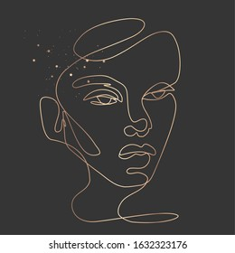 Continuous line vector drawing. Face silhouette. Abstract portrait. Girls One line illustration. Fashion concept, woman beauty minimalist. Trendy style. Golden art on a dark background.
