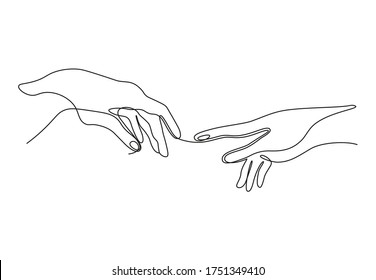 Continuous line vector illustration of two hands barely touching one another. Simple sketch of two hands made of one line, love concept