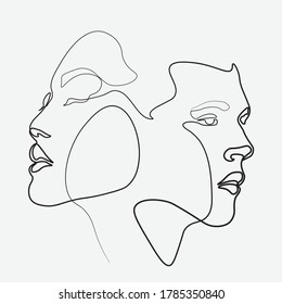 Continuous line woman and man showing love valentine vector illustration